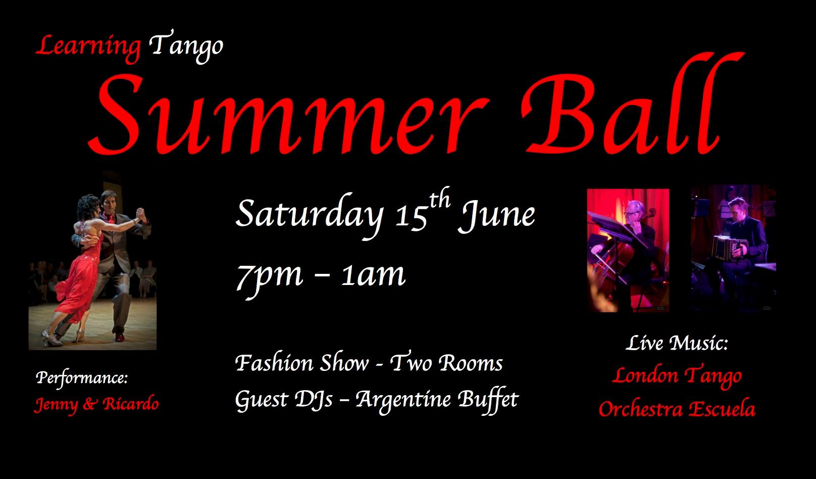 Learning Tango Summer Ball: Saturday 15th June 2019, 7pm - 1am